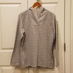 St. John's Bay Gray and Silver Hooded Top **